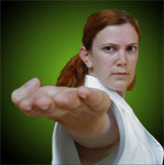 "Anne 'Bob' Herlihy 4th Dan - performing ""jodan shuto uchi""  - knife hand strike to the face"